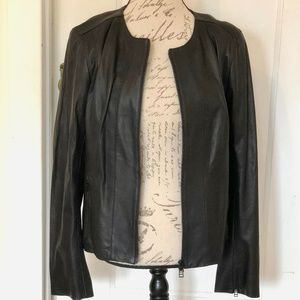 HP Halogen Black Leather Crop Jacket NWT XL